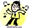 businessman dancing Vector Clip Art image