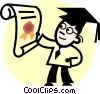 Vector Clipart illustration  of a graduate with his diploma