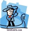 Vector Clip Art image  of a gondola operator
