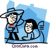 Vector Clip Art graphic  of a man paddling a gondola with a woman