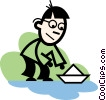 Vector Clip Art graphic  of a boy sailing a paper boat
