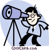 man looking through a telescope Vector Clip Art picture