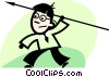 Vector Clipart illustration  of a businessman throwing a javelin
