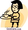Having Coffee Vector Clip Art graphic