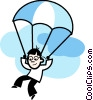 Vector Clip Art graphic  of a Parasailing  Paragliding