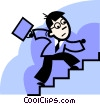 Businessmen climbing stairs Vector Clip Art graphic