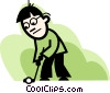 man putting Vector Clipart illustration