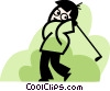 man swinging his golf club Vector Clipart graphic