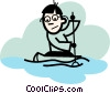 Vector Clipart graphic  of a Canoeing
