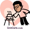 Vector Clipart picture  of a man blowing out the candles on