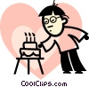 man blowing out the candles on his cake Vector Clipart graphic