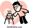 Vector Clipart graphic  of a man blowing out the candles on
