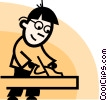 man working with a wood plane Vector Clipart picture