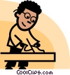 man working with a wood plane Vector Clip Art graphic