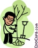 man planting a tree Vector Clipart picture