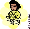 woman planting flowers Vector Clip Art picture