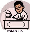 Vector Clipart graphic  of an an accountant crunching