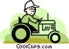 farmer driving a tractor Vector Clipart picture