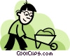 Trades person with a wheelbarrow Vector Clip Art image