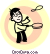 Chef flipping a pancake Vector Clip Art picture