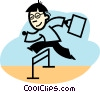 businessman jumping hurdles Vector Clipart picture
