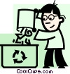 Man recycling paper Vector Clipart picture