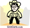 Vector Clip Art graphic  of a Cowboys
