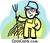 Farmer with pitch fork Vector Clip Art image