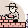 Brick Layer laying bricks Vector Clipart illustration