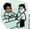 Vector Clipart graphic  of a bank teller exchanging money