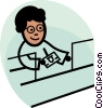 Vector Clipart picture  of a bank teller