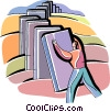 Vector Clip Art image  of a domino books