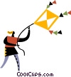 Kite Flying Vector Clipart image