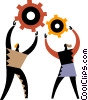 Vector Clip Art graphic  of a man and a woman with gears