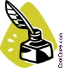 ink well and quill pen Vector Clip Art graphic