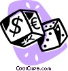 money dice Vector Clipart illustration