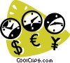 wall clocks and currency symbols Vector Clip Art picture