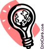 Vector Clipart illustration  of a planet earth in a light bulb