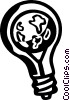 Vector Clip Art graphic  of a planet earth in a light bulb