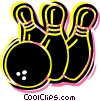 Vector Clip Art graphic  of a Bowling ball with pins
