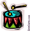 Vector Clip Art image  of a Beating drum