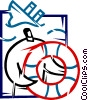 Vector Clipart graphic  of a Life Vests and Preservers