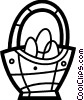 Easter basket with Easter eggs Vector Clipart picture