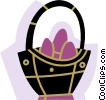 Easter basket with Easter eggs Vector Clipart illustration