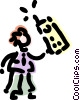 Vector Clip Art picture  of a Women On The Phone