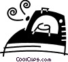 Vector Clip Art image  of a Irons Ironing
