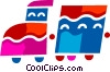 Vector Clipart graphic  of a Toy Trains