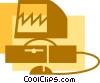 Vector Clip Art graphic  of a Computer Desktop Systems