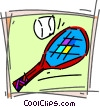 Vector Clipart illustration  of a Balls and Rackets Racquets
