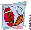 Vector Clipart image  of a Football and whistle